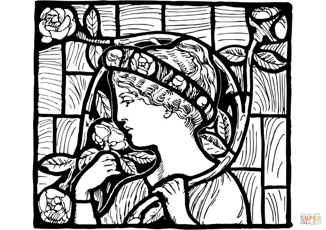 Stained Glass Window with Woman and Roses coloring page  Free