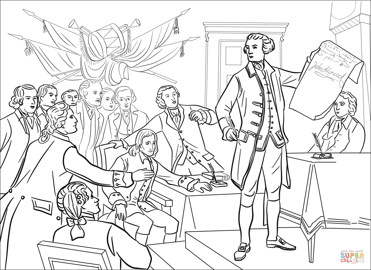 The Second Continental Congress Coloring Page