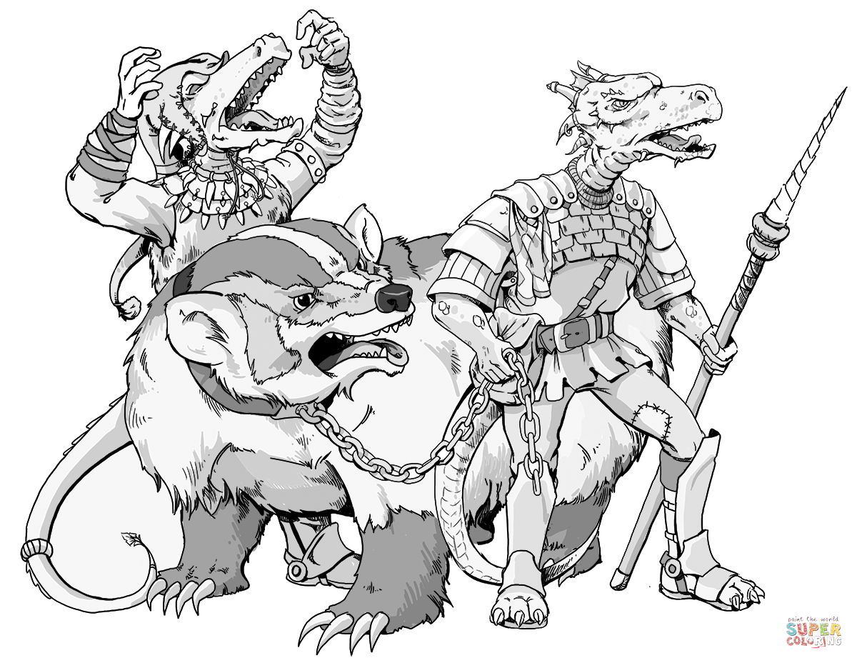 Two Dnd Kobolds And Giant Badger Coloring Page