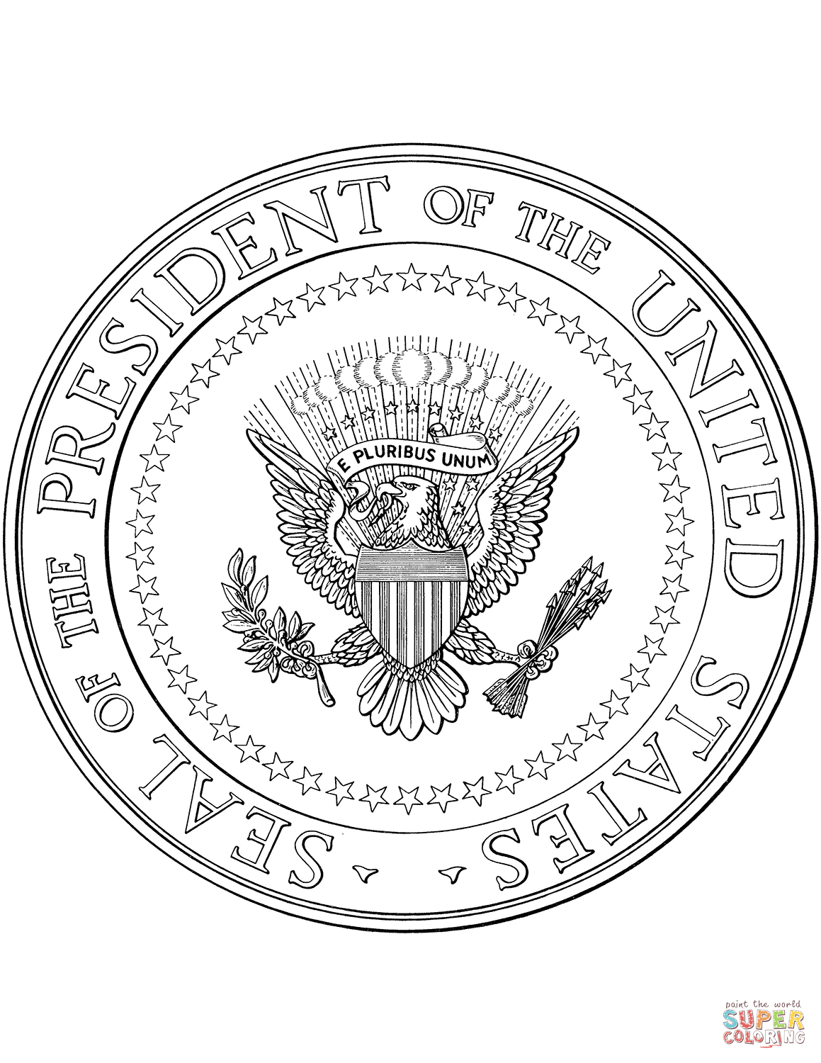 Us Presidential Seal Coloring Page