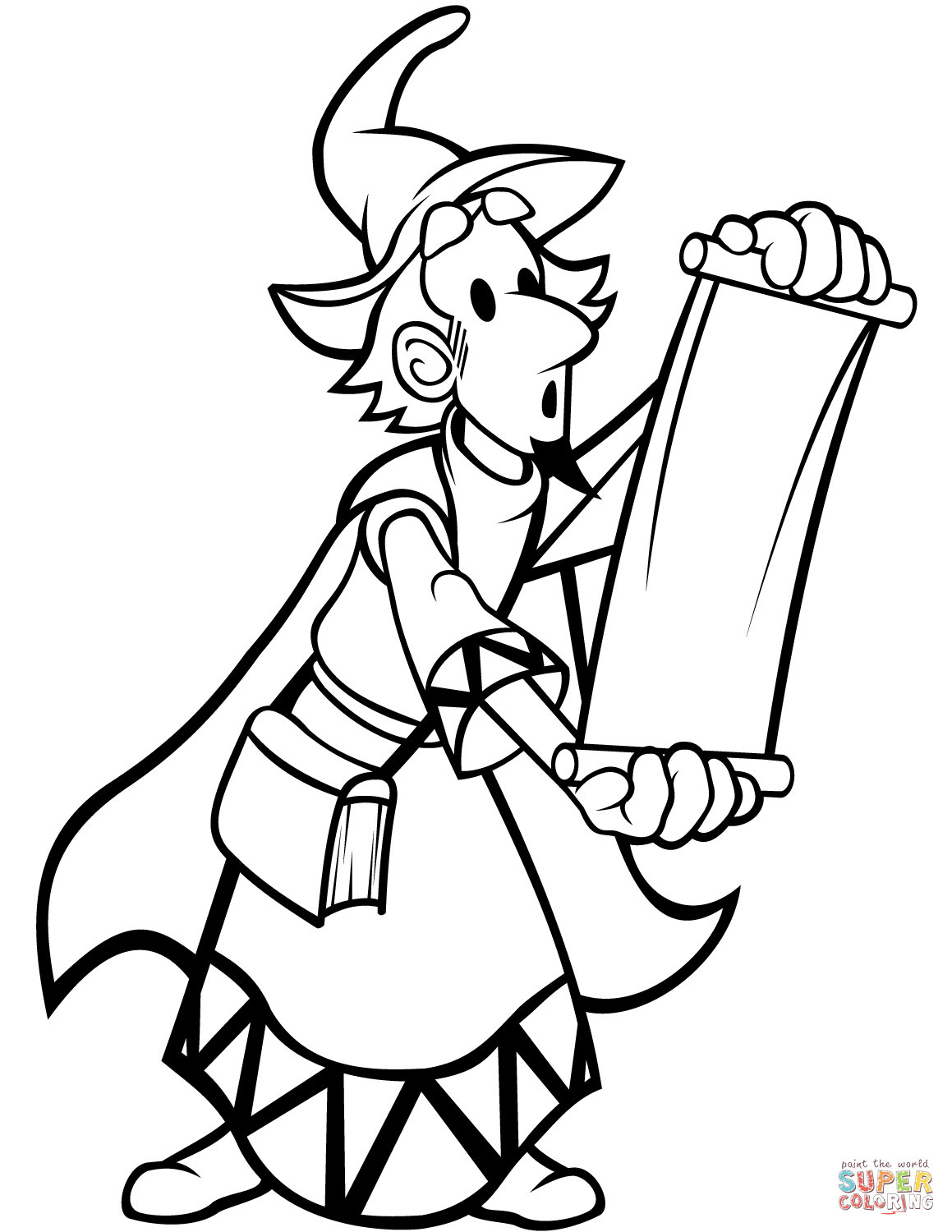 Wizard With Scroll Coloring Page