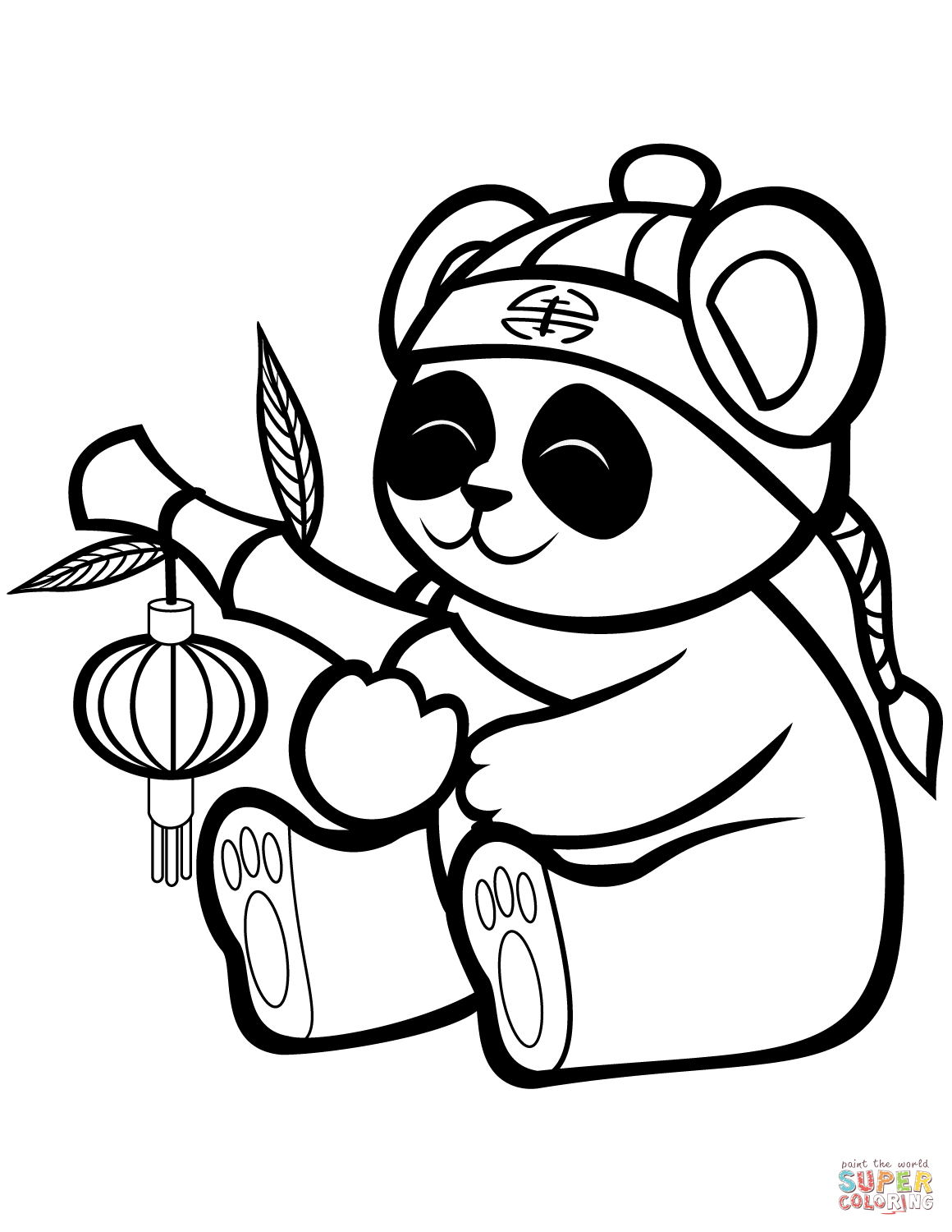 Cute Panda With A Bamboo Lantern Coloring Page