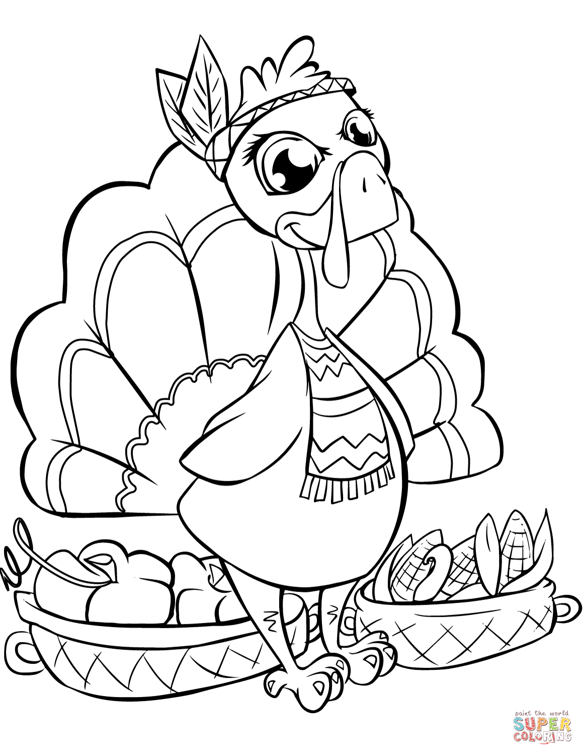 Cute Turkey With Baskets Coloring Page