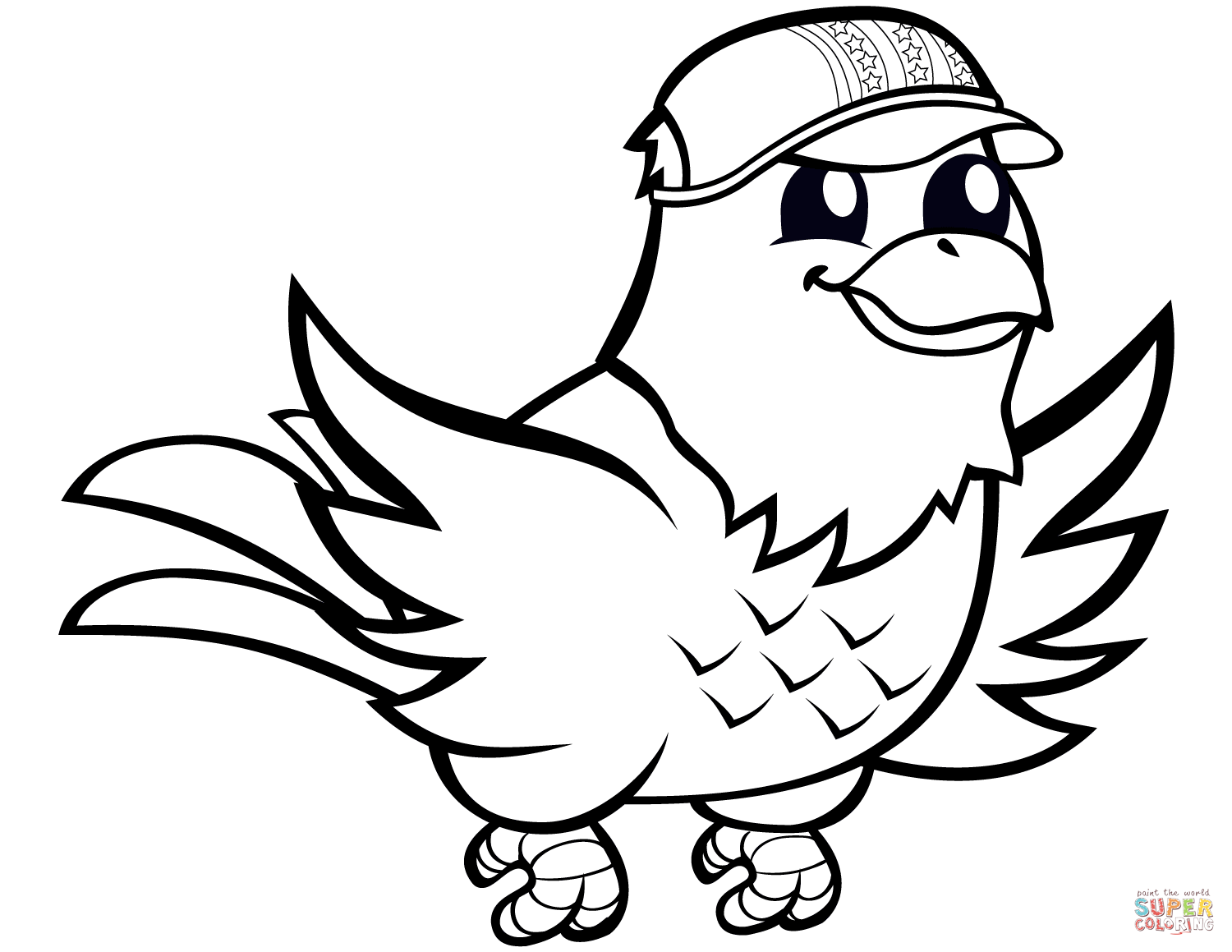 Funny Eagle With Baseball Cap Coloring Page