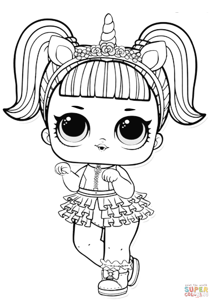 Lol Surprise Doll Unicorn Coloring Page Free Printable Coloring Pages