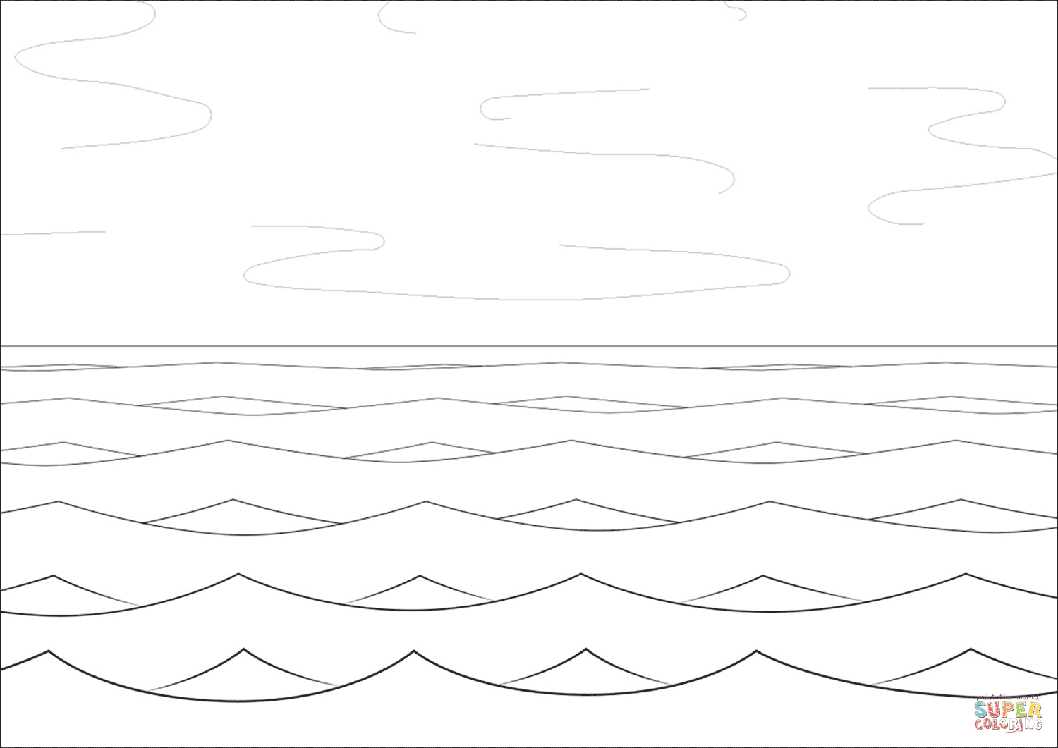 Sea And Waves Coloring Page