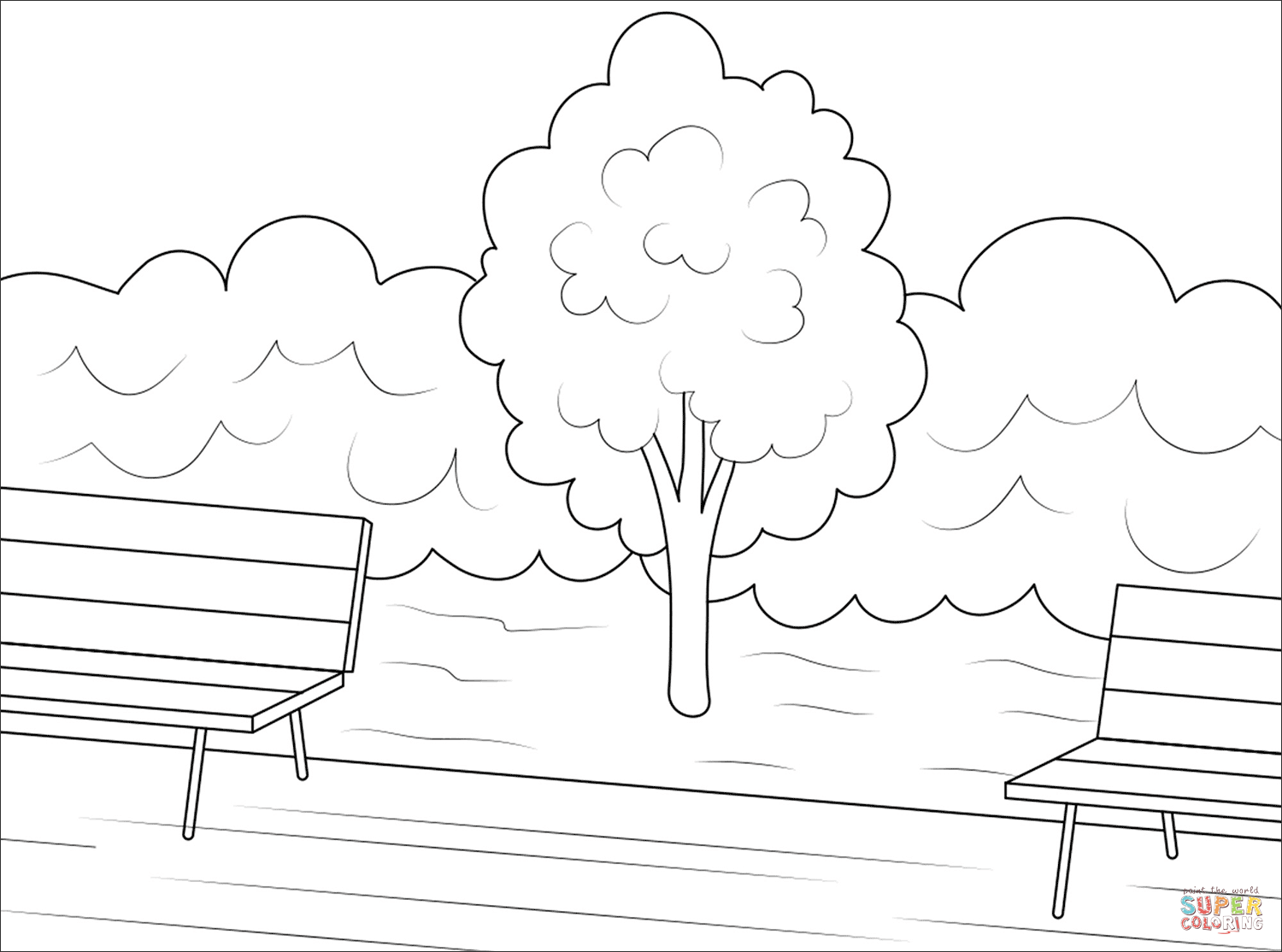 Tree In A Park Coloring Page