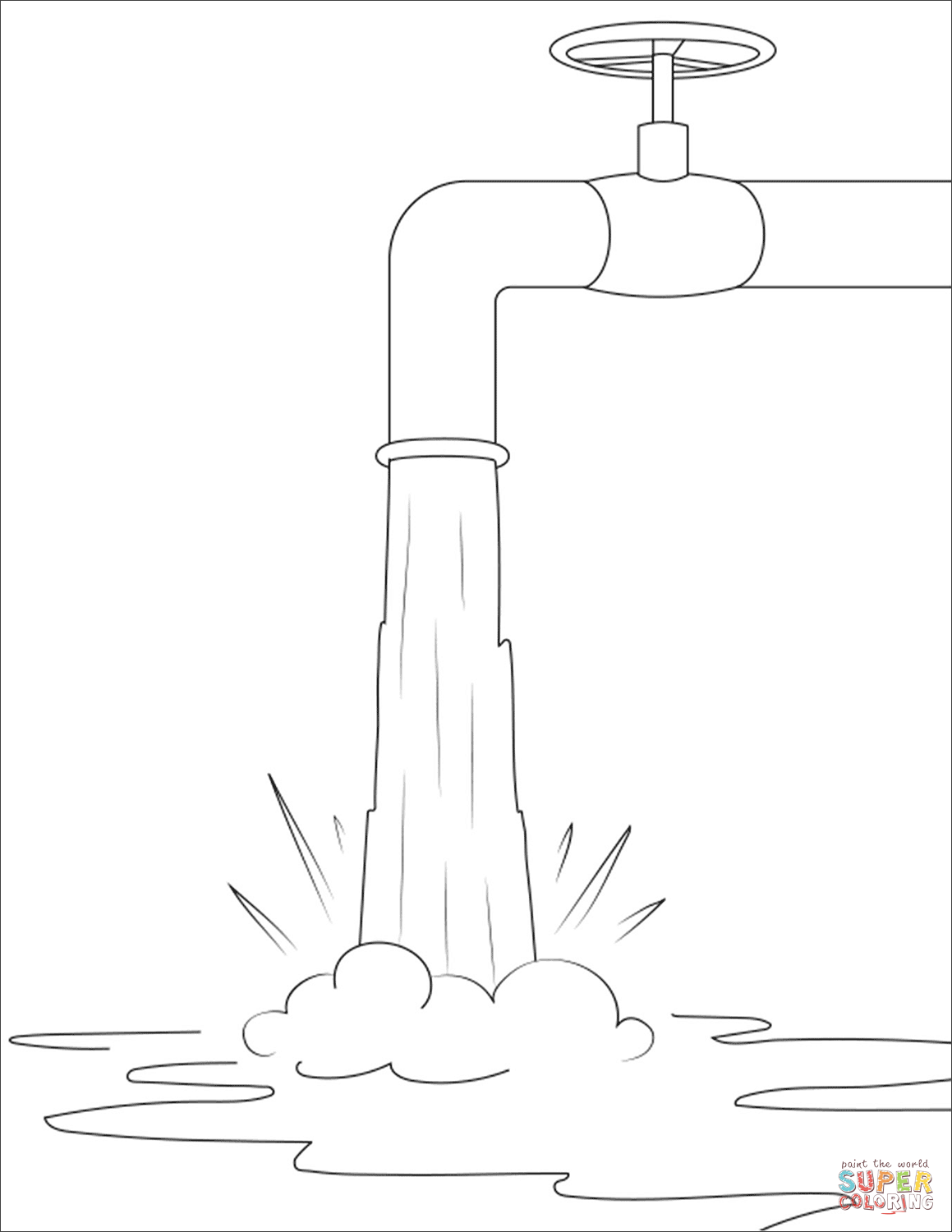 Water Crane Coloring Page