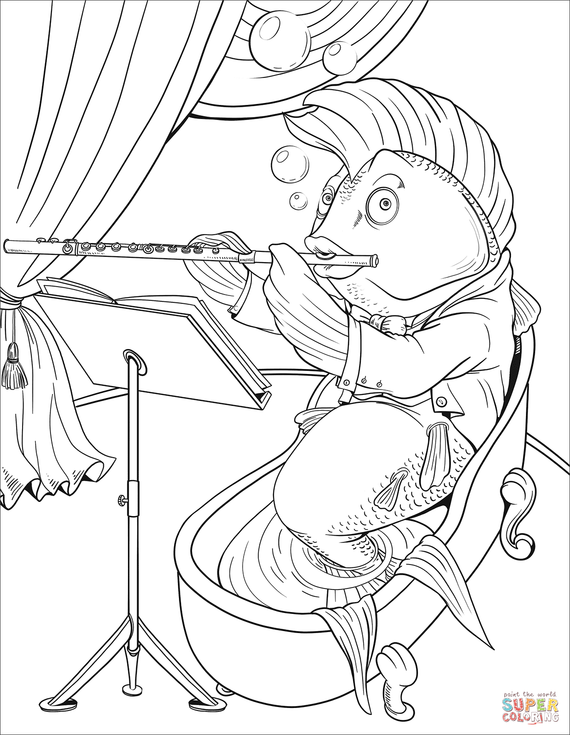 Fish Playing The Flute Coloring Page