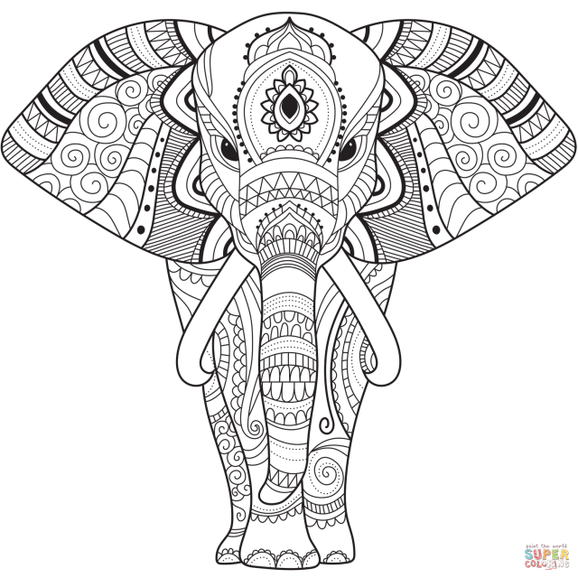Zentangle Elephant coloring page  Free Printable Coloring Pages
