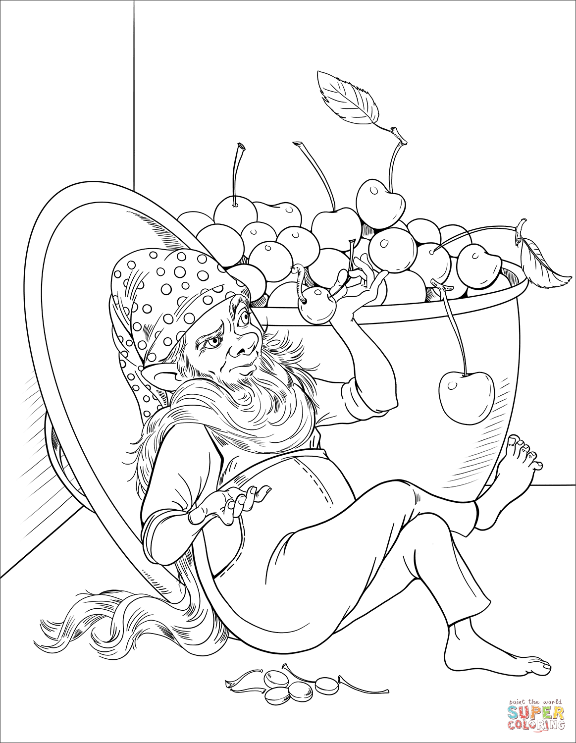 Gnome Eating Cherries Coloring Page