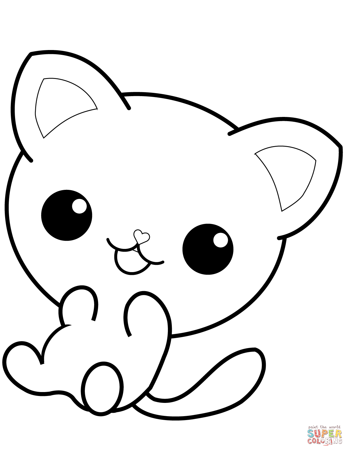 Kawaii Kitty Coloring Page Free Printable Coloring Pages
