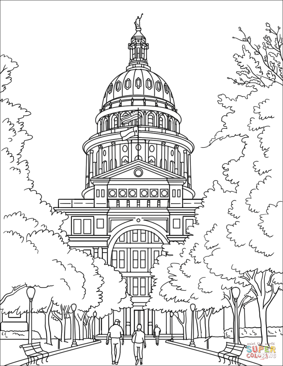 Texas State Capital Coloring Page Free Printable