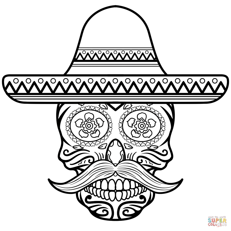 Sugar Skull In Sombrero Coloring Page