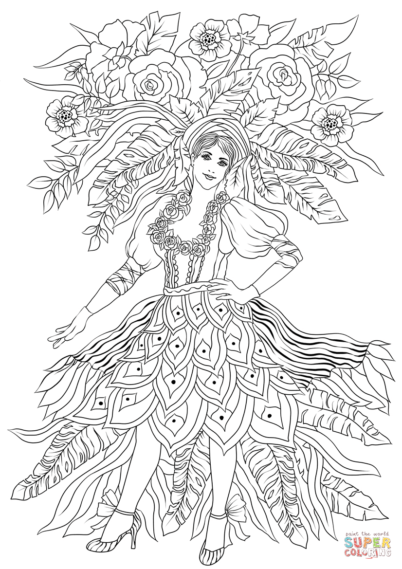 Woman Dancer At The Tenerife Carnival Coloring Page Free Printable Coloring Pages