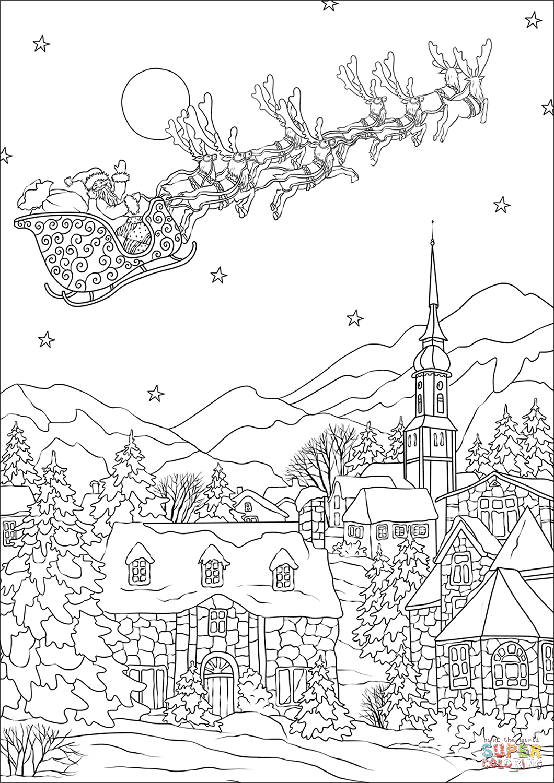 Saint Nickolas Flies Away Over Christmas Village Coloring