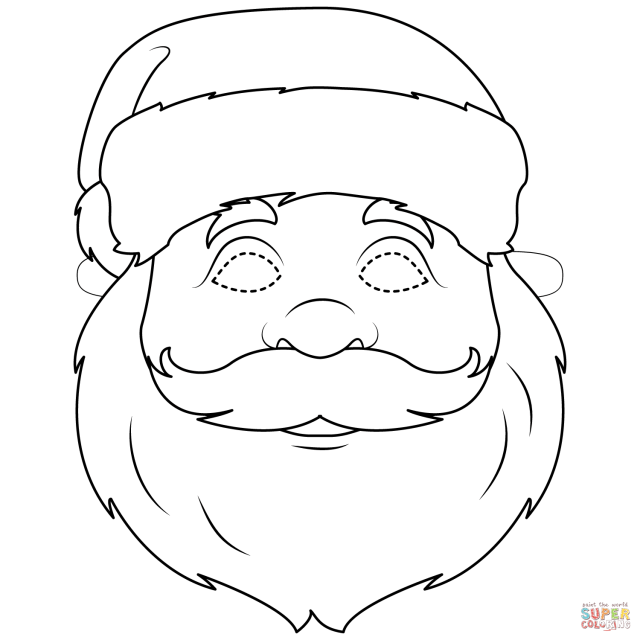 Santa Claus Mask coloring page  Free Printable Coloring Pages