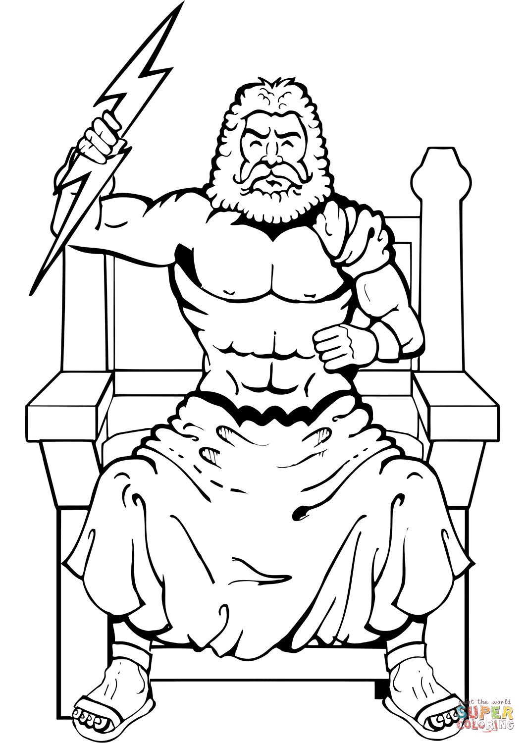 Zeus With Thunderbolt Coloring Page