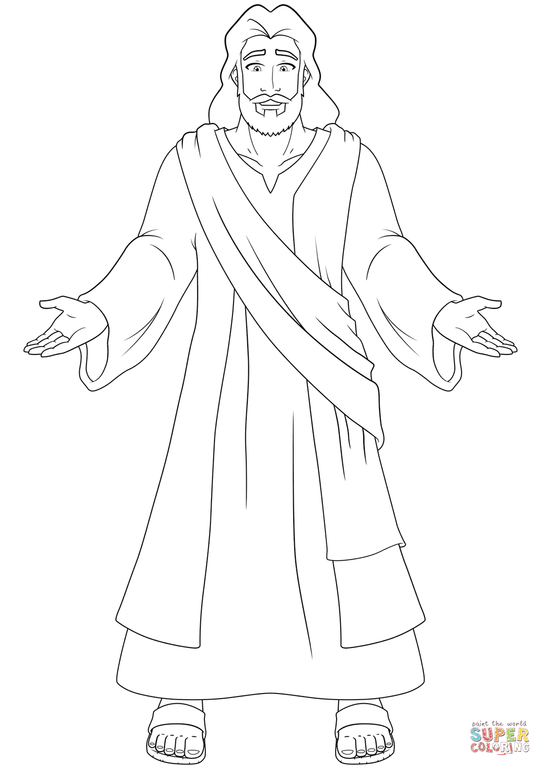 Jesus With Open Hands Coloring Page
