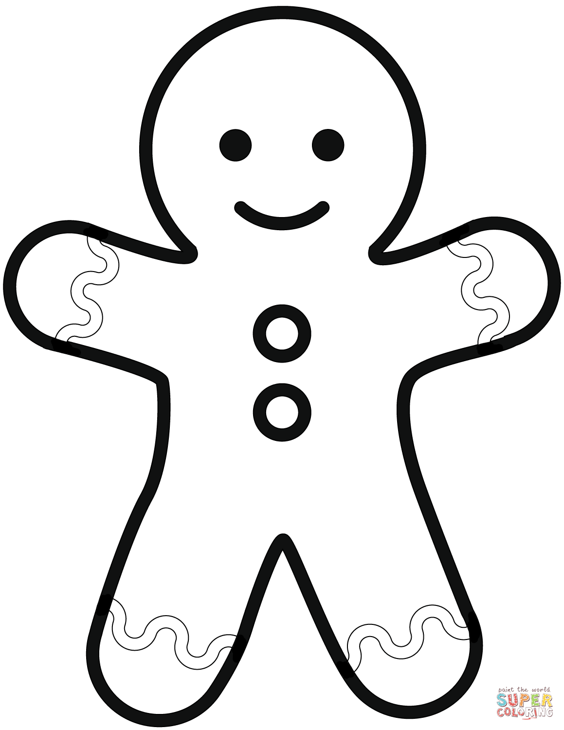 Simple Gingerbread Man Coloring Page