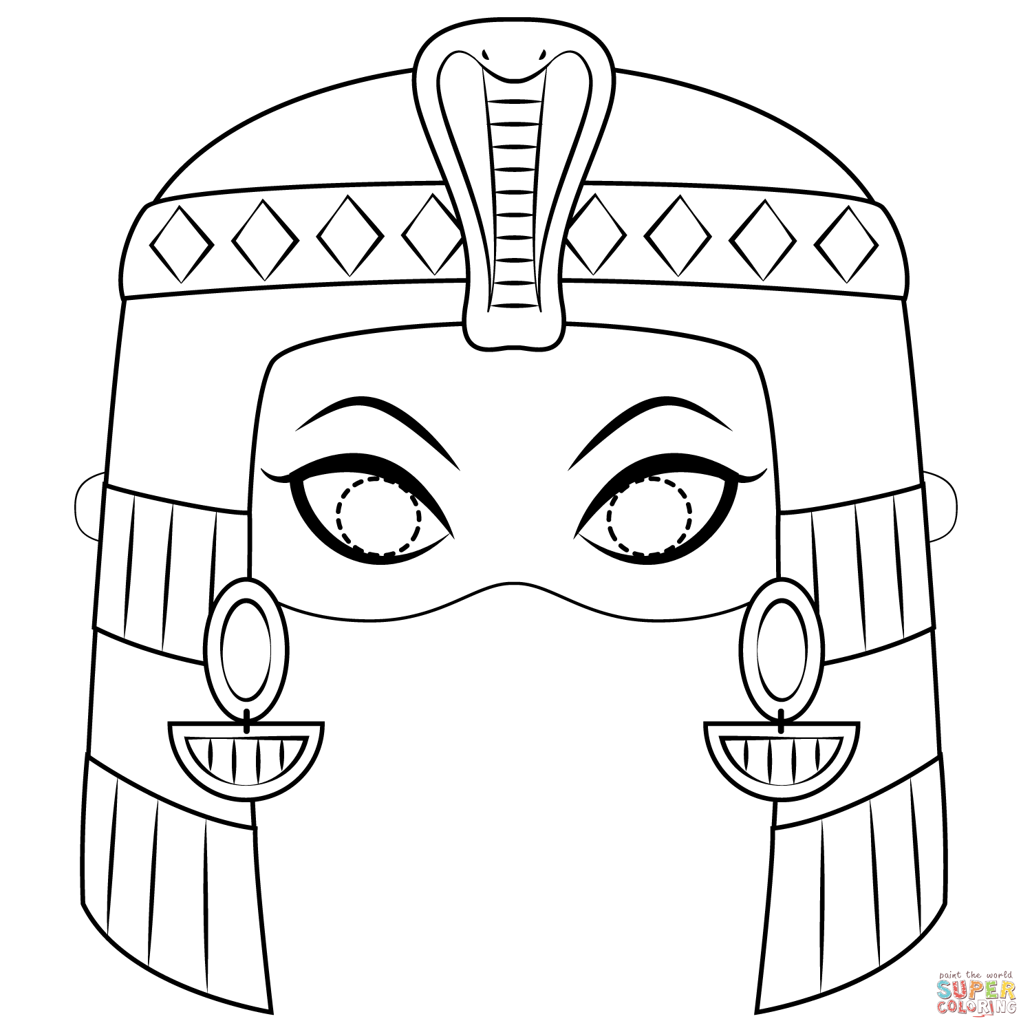 Cleopatra Mask Coloring Page
