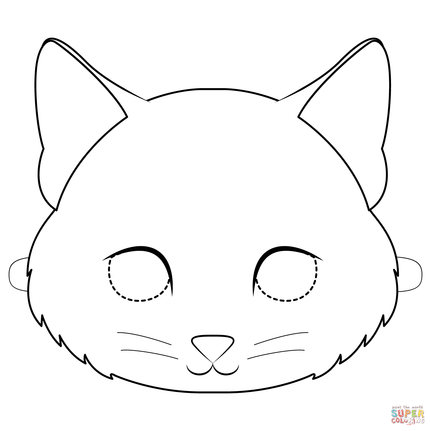 Kitten Mask Coloring Page
