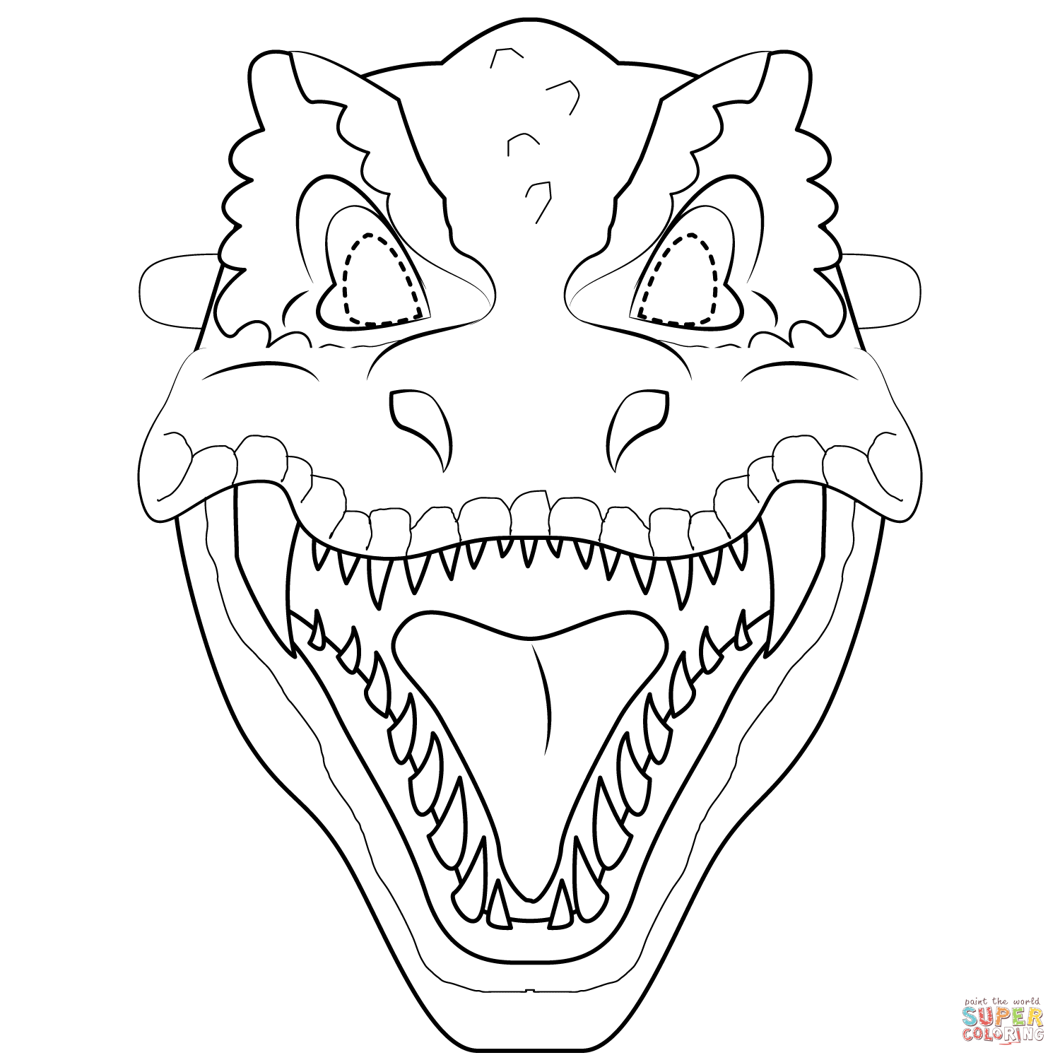 T Rex Mask Coloring Page