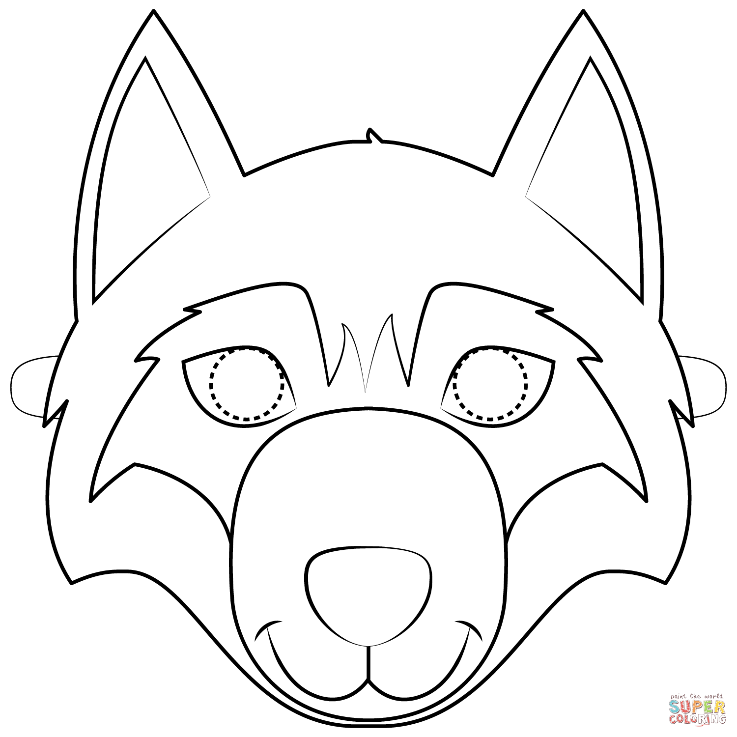 Wolf Mask Coloring Page