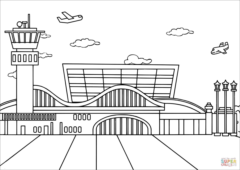 Ausmalbild Flughafen