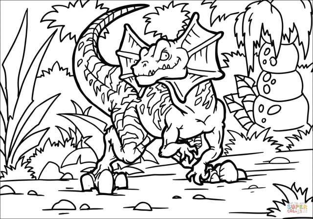 Dilophosaurus coloring page  Free Printable Coloring Pages