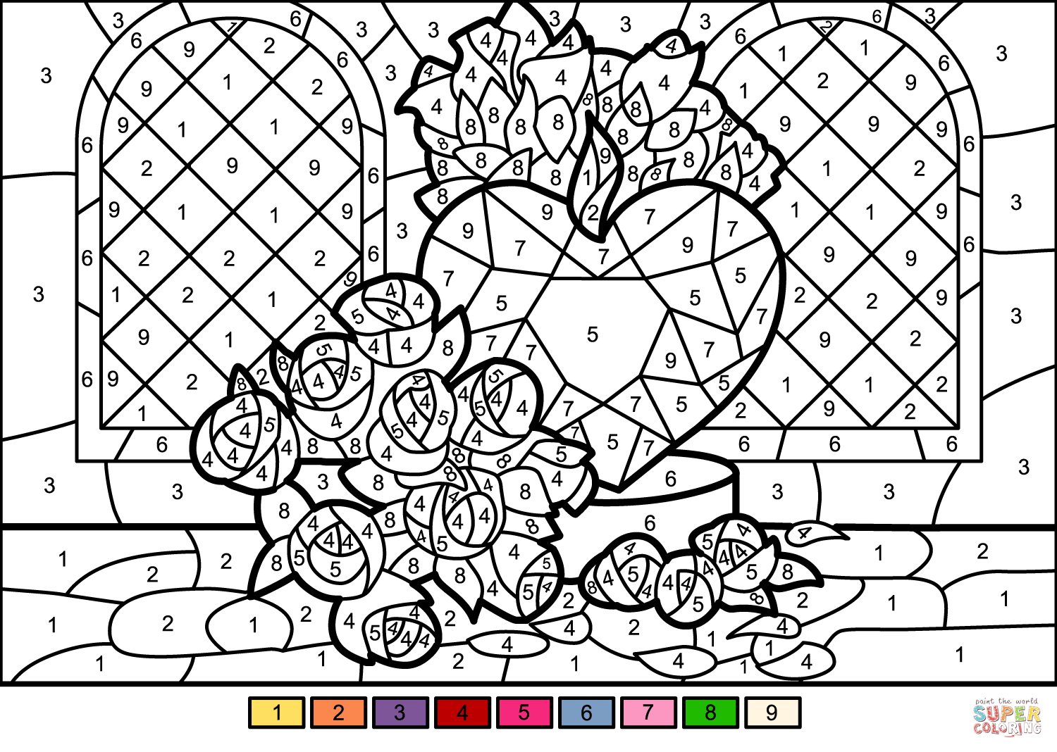 Roses And Heart Color By Number