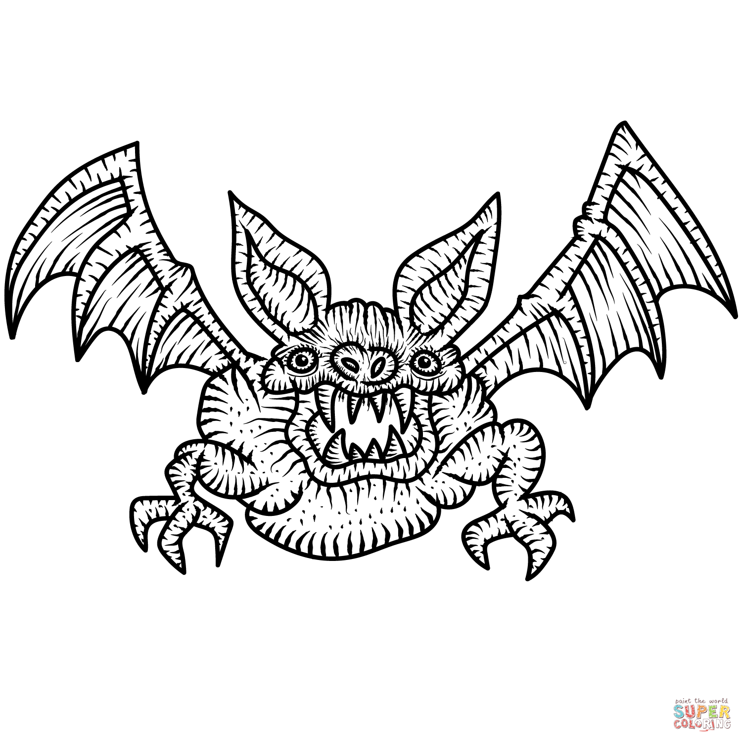 Scary Bat Coloring Page Free Printable Coloring Pages