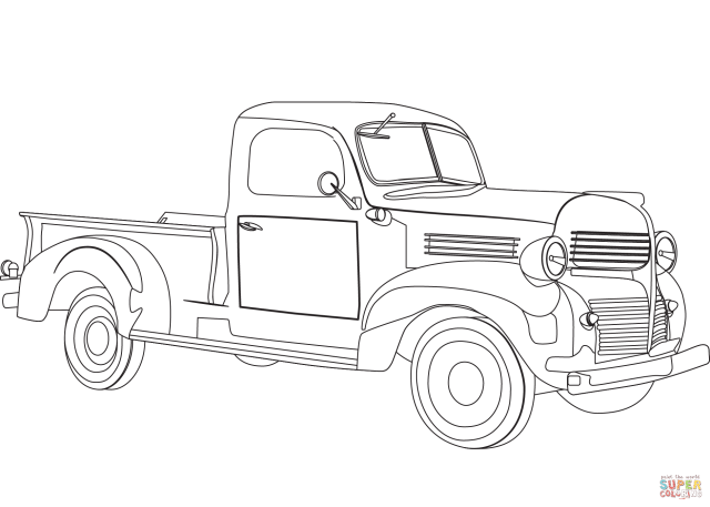 Vintage Pickup Truck coloring page  Free Printable Coloring Pages