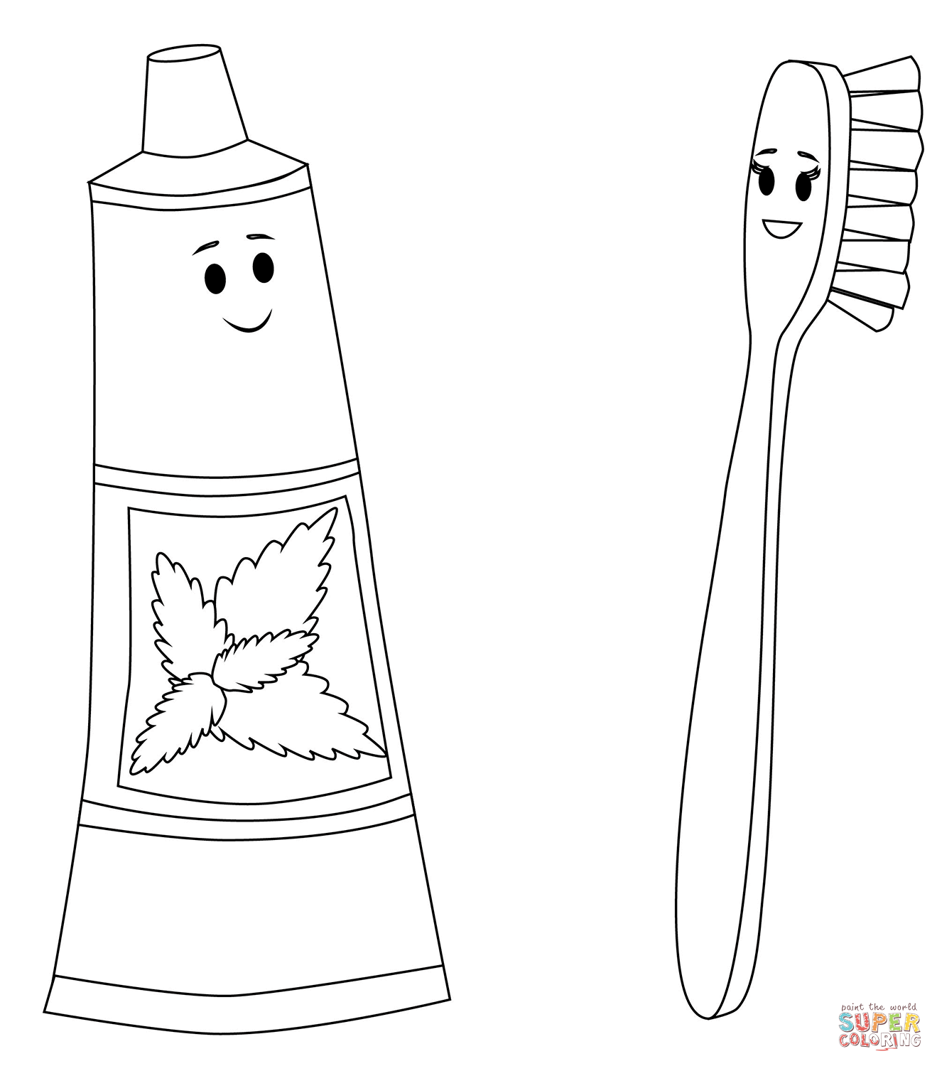 Toothpaste And Toothbrush Characters Coloring Page