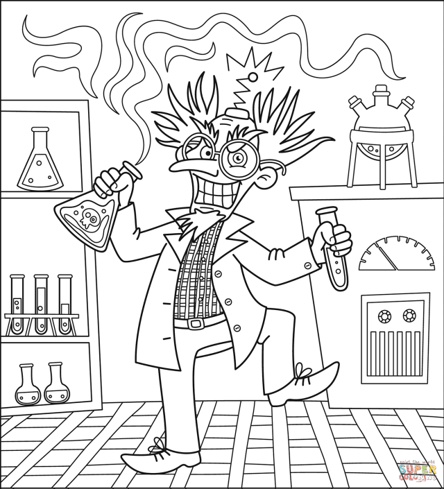 Evil Scientist coloring page  Free Printable Coloring Pages