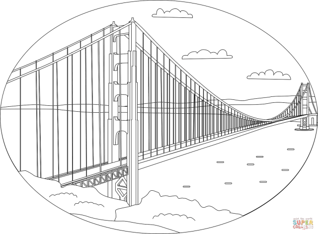Golden Gate Bridge coloring page  Free Printable Coloring Pages