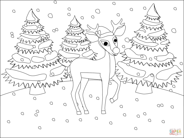 Red Nosed Christmas Reindeer Rudolph coloring page  Free