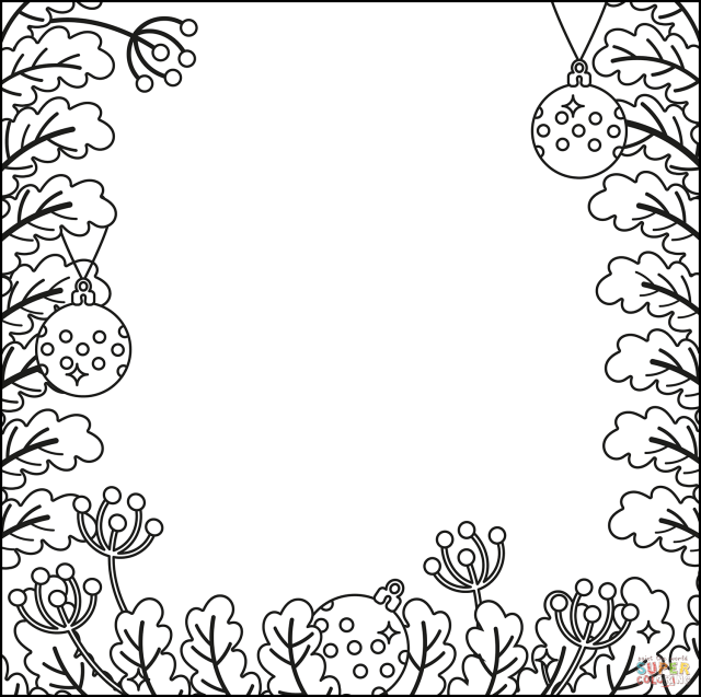 Christmas Border coloring page  Free Printable Coloring Pages