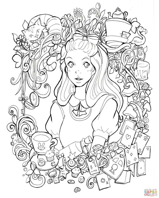 Alice in Wonderland coloring page  Free Printable Coloring Pages