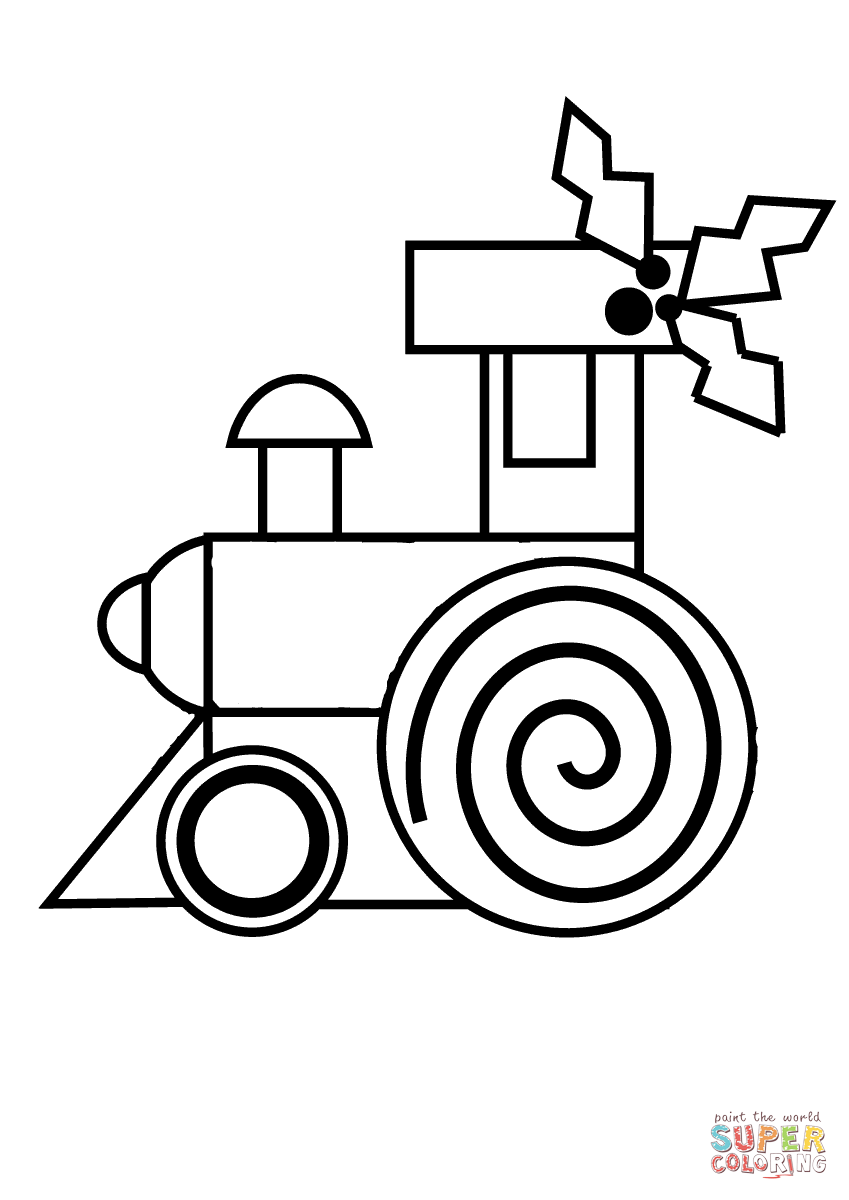 Christmas Train Decorated With Holly Coloring Page Free