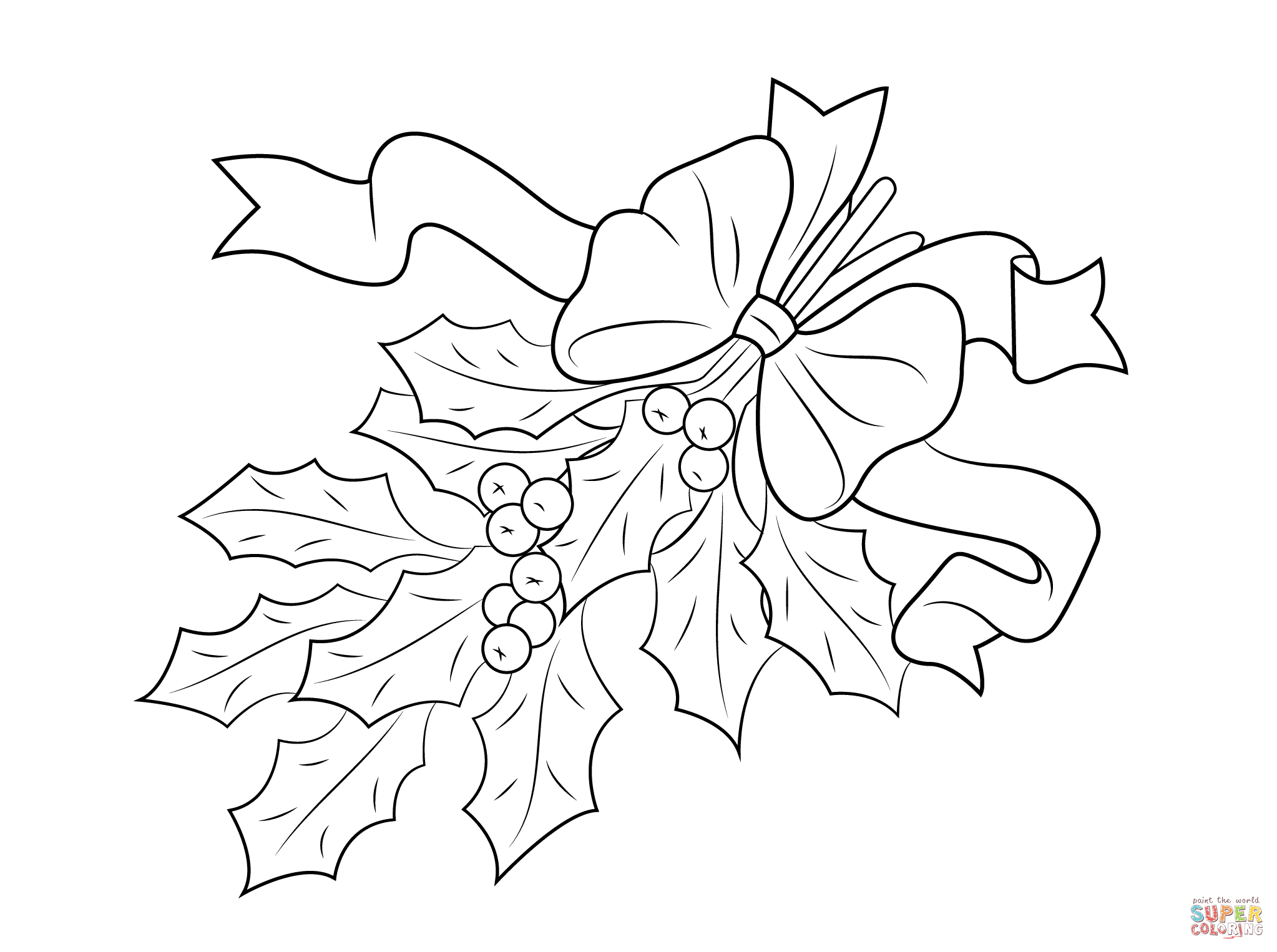 Christmas Holly With Bow Coloring Page