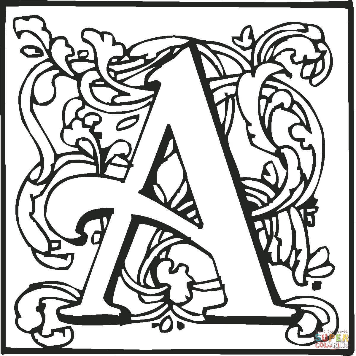 Letter A With Ornament Coloring Page