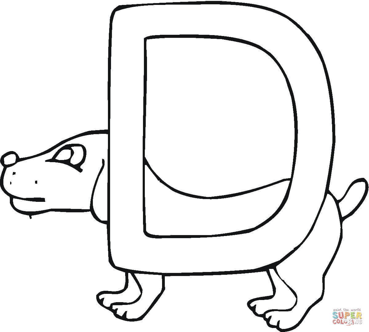 Letter D Is For Dog Coloring Page