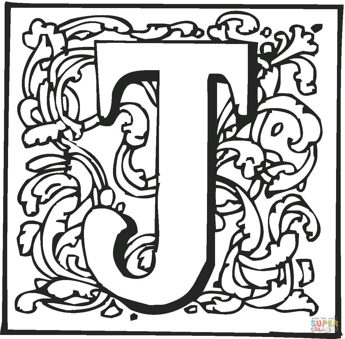 Letter J With Ornament Coloring Page