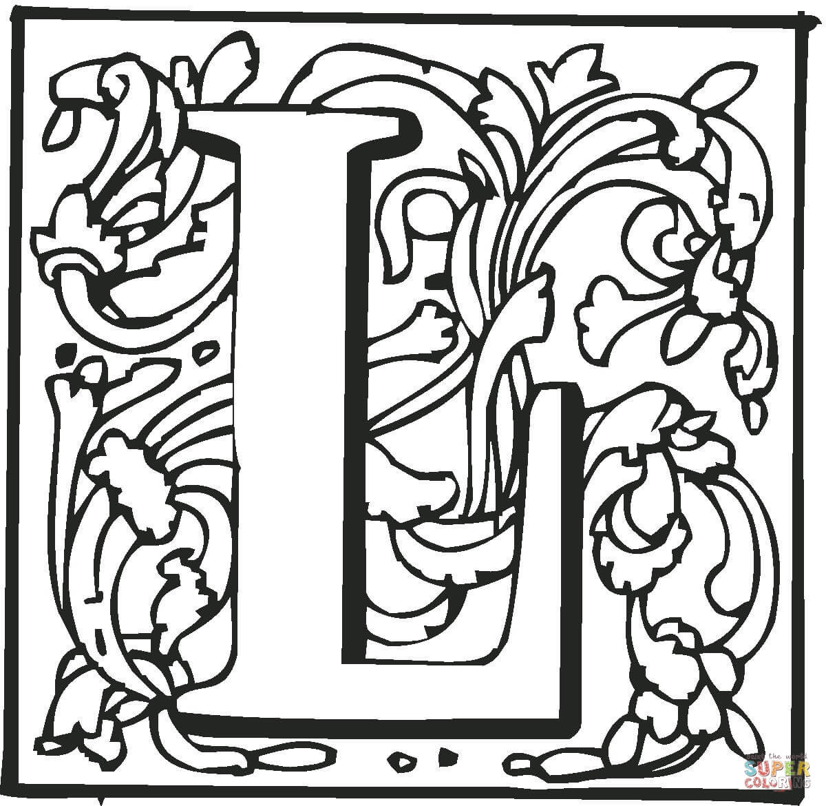 Letter L With Ornament Coloring Page