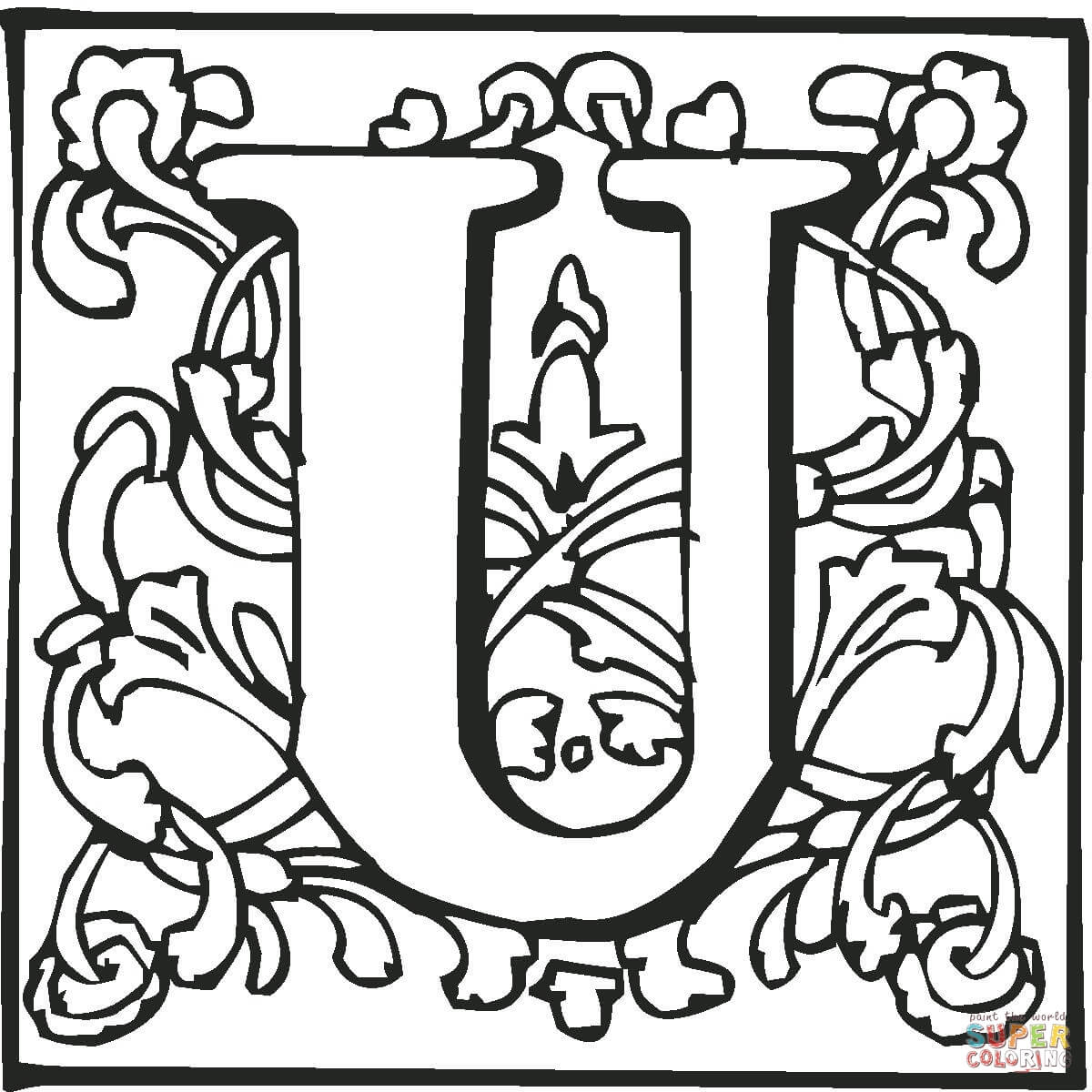 Letter U With Ornament Coloring Page