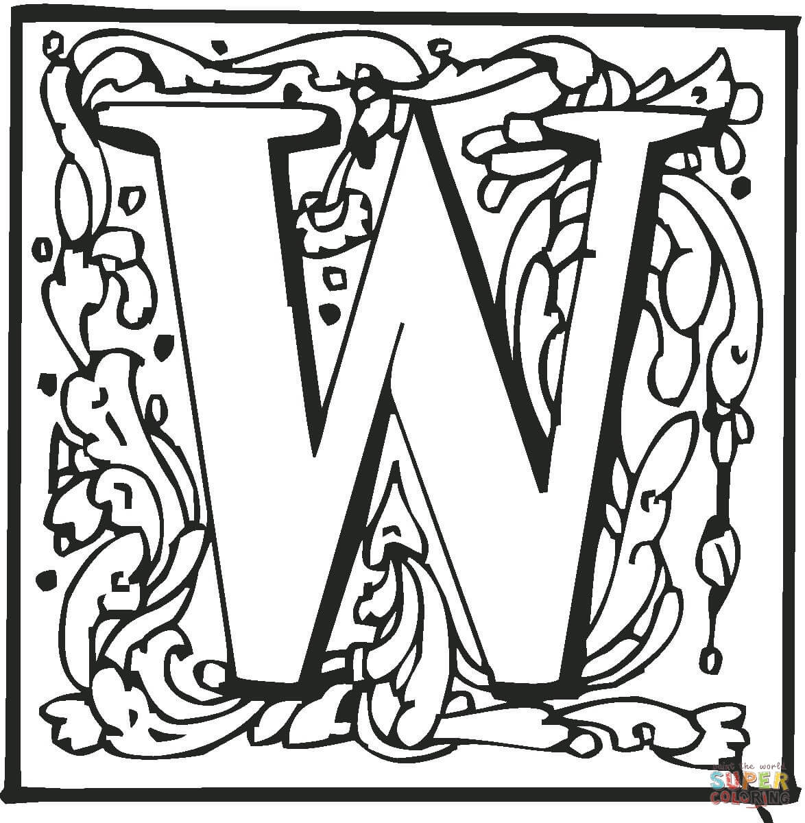 Letter W With Ornament Coloring Page