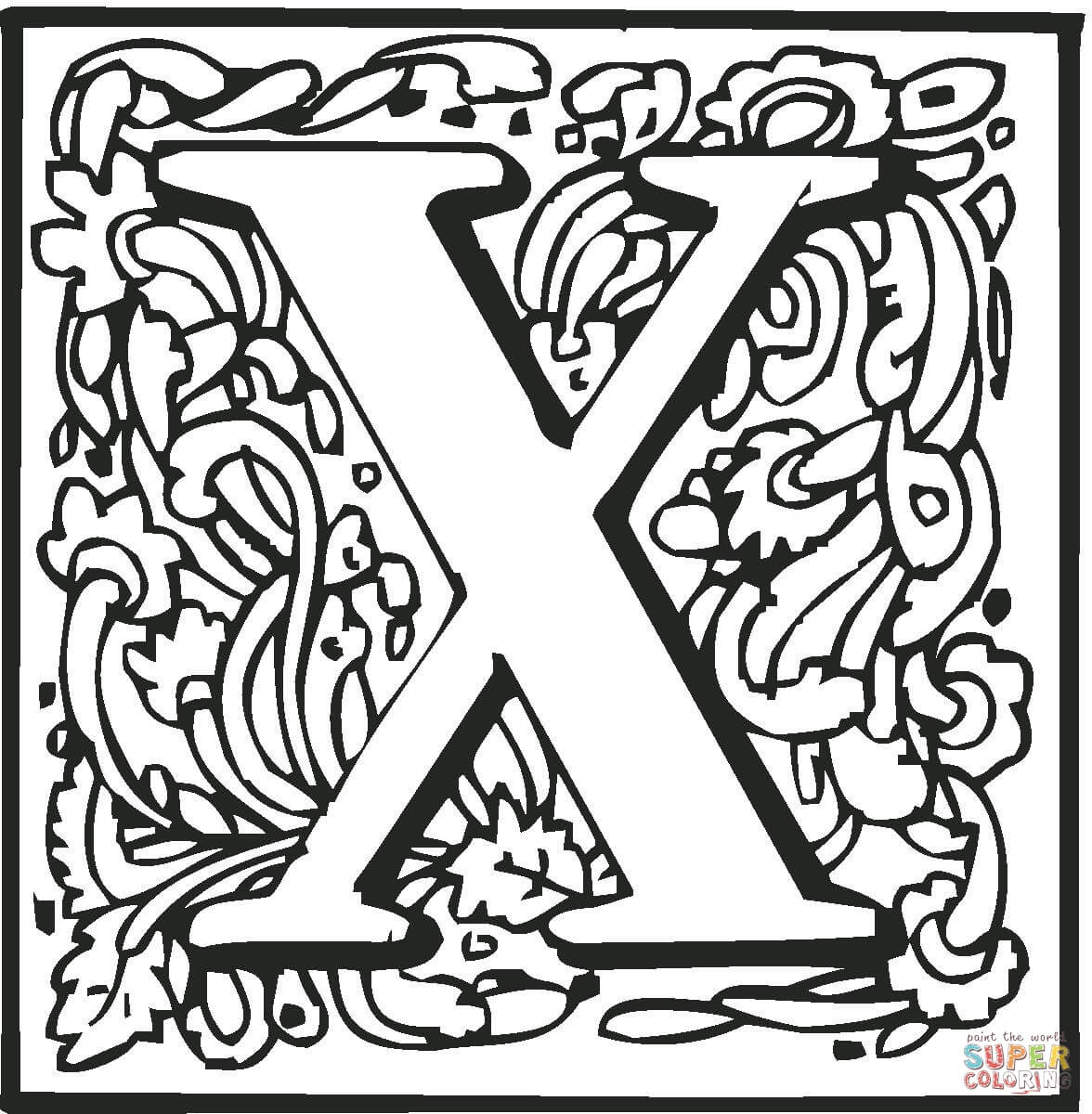 Letter X With Ornament Coloring Page