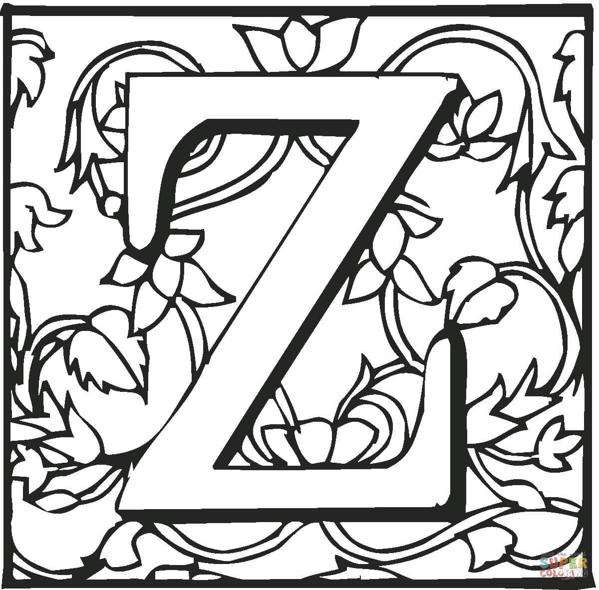 Letter Z With Ornament Coloring Page