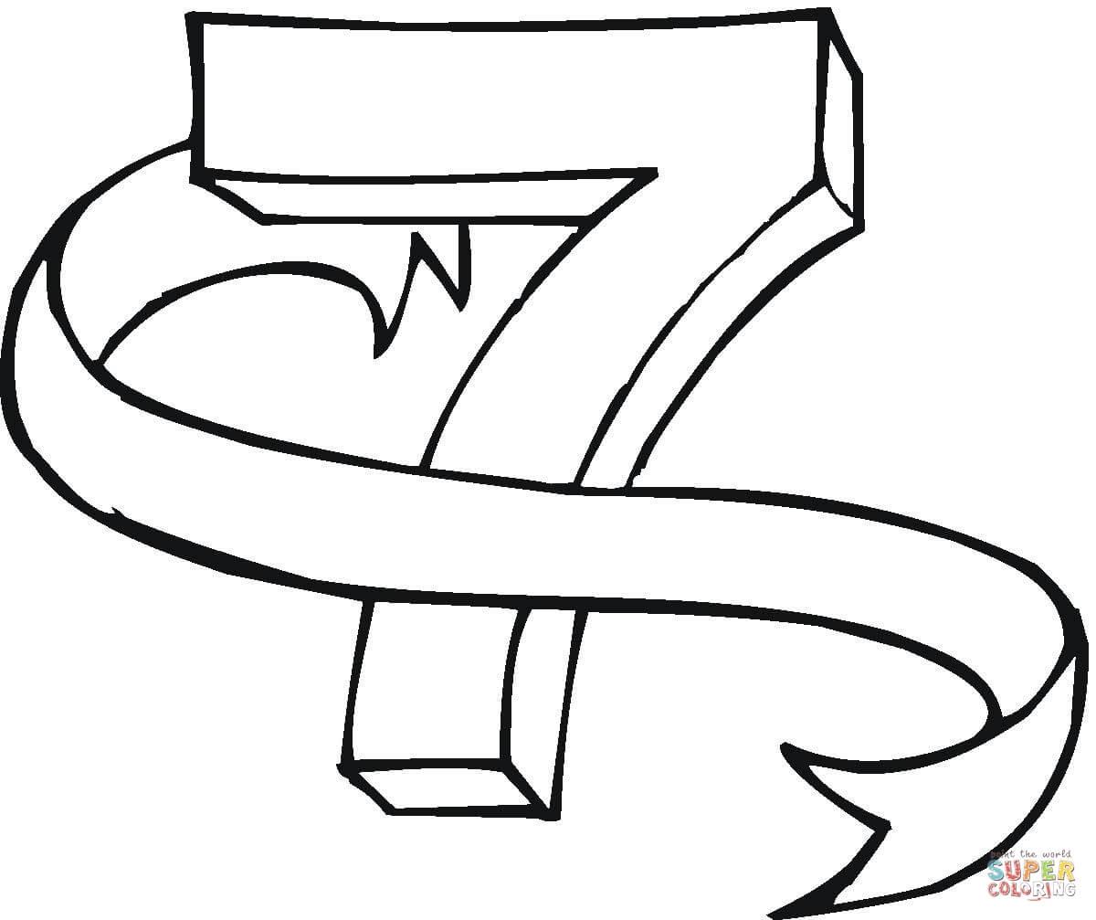 Kolorowanka Cyfra 7